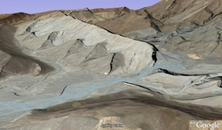 Dipping layers in Pakistan in Google Earth 3D