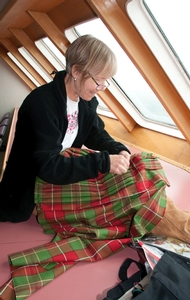 Kiltmaking on the ferry
